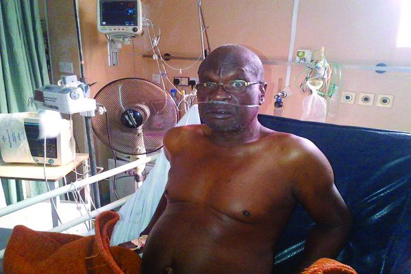 Late Olumide Bakare on his sick bed