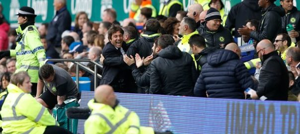 Joy for Chelsea manager Antonio Conte and the Chelsea bench after Willian scored their third goal. Photograph: Carl Recine/Action Images via Reuters