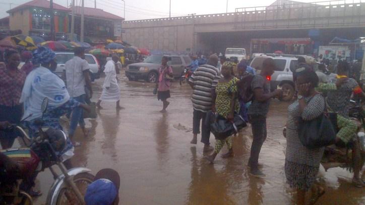 Flooded area in Ogun community