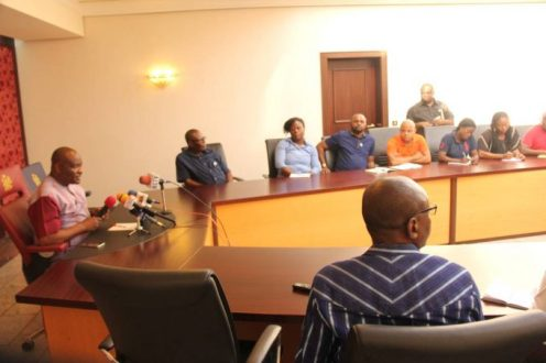 Rivers State Governor, Nyesom Ezenwo Wike addressing journalists on Sunday