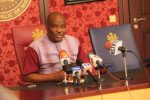 Rivers State Governor, Nyesom Ezenwo Wike addressing journalists on Sunday