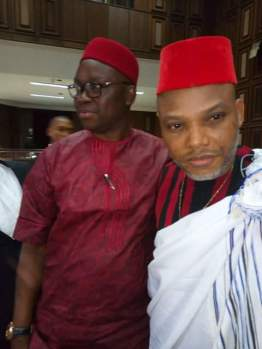 Nnamdi Kanu with Gov Fayose in Court after he was granted bail