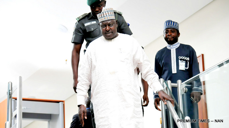 Secretary to the Government of the Federation Babachir Lawal leaving the Presidential Villa Abuja after the announcement of his suspension in Abuja on Wednesday (19/4/17). 02295/19/4/2017/Callistus Ewelike/NAN