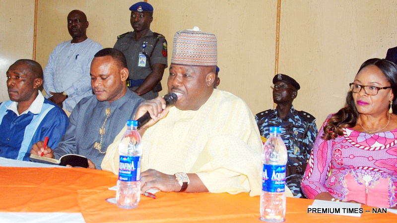 FROM LEFT: Anambra State PDP Chieftain, Mr Chris Uba; Ebonyi State Deputy Governor, Mr Kelechi Igwe; PDP National Chairman, Sen Ali Modu-Sheriff and Deputy Governor of Enugu State, Mrs Cecelia Ezeilo, during the Anambra State PDP Stakeholders meeting in Enugu on Monday (10/4/17).02173/10/4/2017/Mike Agada/JAU/ICE/NAN