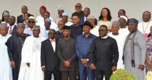 Vice President Yemi Osinbajo (M) with  members of the Presidential Task force on Polo Eradication after a Meeting at the Presidential Villa in Abuja on Thursday (27/04/17).   02325/27/4/2017/Sumaila Ejiga/ICE/NAN