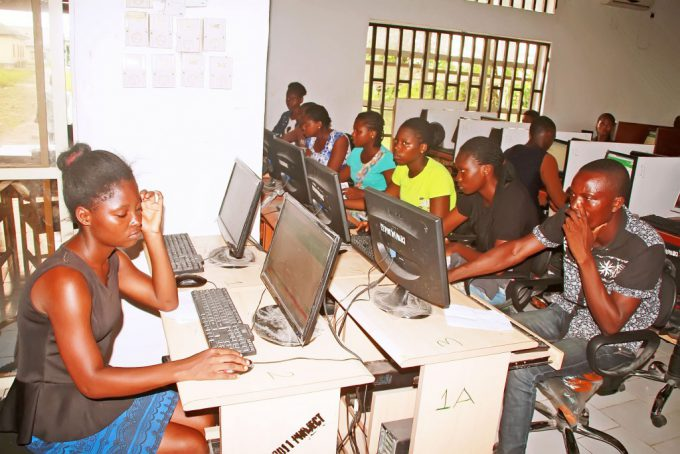 Students writing Joint Admission and Matriculation Board (JAMB)  Mock Examination, at Mater Dei High School Imiringi in Ogbia Local Government Area of  Bayelsa State on Saturday (29/4/17).  02352/29/4/2017/Tony Okpu/JAU/NAN