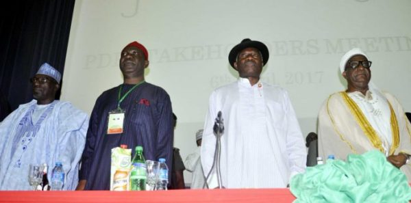 From left: Chairman, PDP Caretaker Committee, Ahmed Makarfi, Deputy Senate President, Sen Ike Ekweremadu, Former President Goodluck Jonathan and Chairman, Board of Trustees (BOT), Alhaji Wali Jubril at a PDP Stakeholders meeting in Abuja on Thursday (6/4/17) 02098/6/4/2017/Albert Otu/ICE/NAN