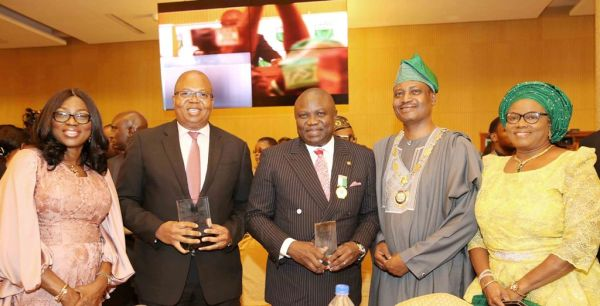 L-R: Wife of Lagos State Governor, Mrs. Bolanle Ambode; Country Senior Partner, Pricewaterhouse Coopers Nigeria, Mr. Uyi Akpata; Governor Akinwunmi Ambode; President, Institute of Chartered Accountants of Nigeria (ICAN), Deacon Titus Soetan and his wife, Toun during the ICAN 2017 Annual Dinner and Awards at the Oriental Hotel, Lekki-Epe Expressway, Lagos, on Friday, April 29, 2017.