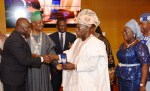 L-R: Lagos State Governor, Mr. Akinwunmi Ambode; President, Institute of Chartered Accountants of Nigeria (ICAN), Deacon Titus Soetan (left); former President, Chief Olusegun Obasanjo and Deputy Governor of Ogun State, Chief (Mrs) Yetunde Onanuga during the ICAN 2017 Annual Dinner and Awards at the Oriental Hotel, Lekki-Epe Expressway, Lagos, on Friday, April 29, 2017.