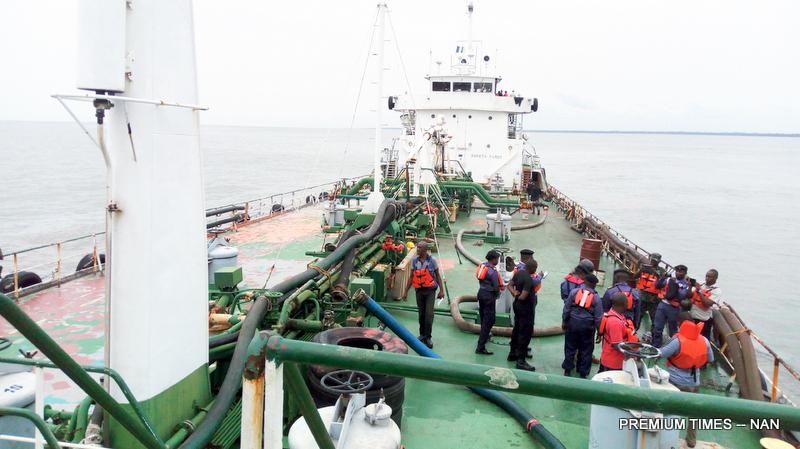 File photo of MT TECNE vessel seized by the Nigerian Navy Ship (NNS) DELTA in Forcados River, Burutu LGA of Delta on Wednesday (26/4/17). 20291/26/4/2017/Edeki Igafe/ICE/NAN