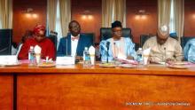 Health Minister, Isaac Adewole with Kaduna governor, Nasir el-Rufai and Zamfara governor, Abdulaziz Yari