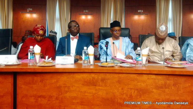 Health Minister, Isaac Adewole with Kaduna governor, Nasir el-Rufai and Zamfara governor, Abdulaziz Yari