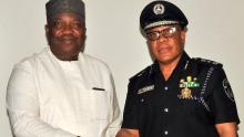 Governor Ifeanyi Ugwuanyi of Enugu State (left), with the Deputy Inspector General of Police (Research/Planning) in charge of the South Eastern Region, Mr. Valentine Ntomchukwu, during a courtesy visit at the Government House, Enugu ,yesterday.