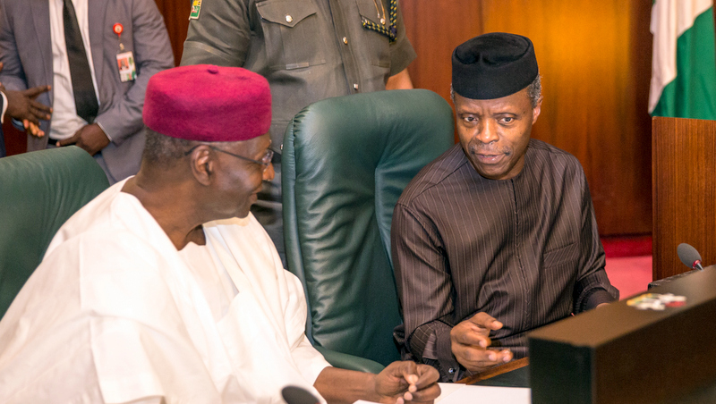 His Excellency Vice President Prof. Yemi Osinbajo with Chief of Staff to the President, Mallam Abba Kyari shortly before the commencement of the FEC Meeting at the Council Chambers, State House, Abuja. 3rd May 2017. NOVO ISIORO.