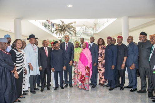 L-R: Acting SGF, Dr. Habibat Lawal; Min of State Industry, trade and Investment, Aisha Abubakar; Hon. Min of Industry, trade and Investment Okechukwu Enelamah; Acting President Yemi Osinbajo, SAN; Alhaji Aliko Dangote; Atedo Peterside, Chairman ANAP Business Jets Ltd; and M.D/CEO Emzor Pharmaceutical, Stella Okoli and members of the Advisory Council, State House, 30th May 2017. Photo: Novo Isioro.