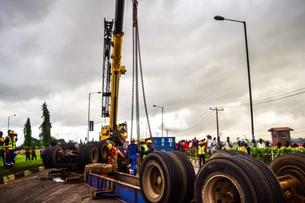 Image result for Container falls off at Motorways Lagos