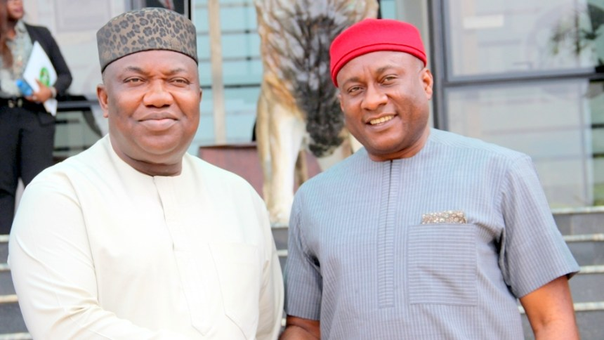 Governor Ifeanyi Ugwuanyi of Enugu State and the Chairman/CEO of Air Peace Ltd, Chief Allen Onyema  when the airline boss visited Government House, Enugu, yesterday.