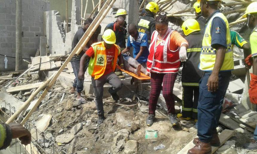 Ongoing rescue operation at the scene of the collapsed Lekki gardens' building