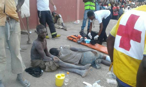 Victims being attended to by rescue operatives