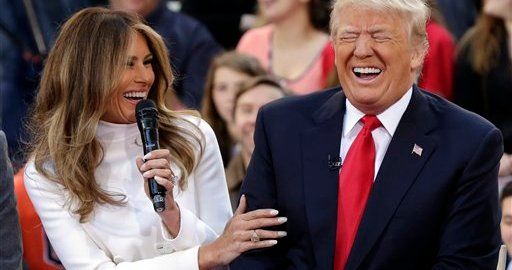 President Trump (R) with wife, Melania (L) [Photo: www.snouts-in-the-trough.com]
