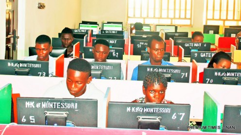 FILE PHOTO: Cleared Candidates for JAMB Unified Tertiary Matriculations Examination (UTME) Computer Based Text writing their examination at a centre in Yenagoa, Bayelsa State on Monday (15/5/17). 02556/15/5/2017/Anthony Okpu/EO/ICE/NAN