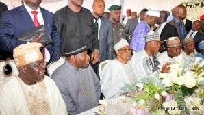 FROM LEFT: Gov. Abubakar Bello of Niger; Gov. Abdullahi Ganduje of Kano State; Gov. Abdulaziz Yari of Zamfara; and Gov. Aminu Tambuwal of Sokoto State, at the Minna Airport, for the wedding of Halima Babangida, second daughter and last child of Gen. Ibrahim Babangida's family, to Alhaji Auwal Abdullahi, a businessman who holds the traditional title of Sarkin Sudan Gombe, on Friday (11/5/17). 02613/12/5/2017/Callistus Ewelike/BJO/NAN