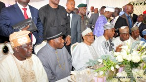 FROM LEFT: Gov. Abubakar Bello of Niger; Gov. Abdullahi Ganduje of Kano State; Gov. Abdulaziz Yari of Zamfara; and Gov. Aminu Tambuwal of Sokoto State, at the Minna Airport, for the wedding of Halima Babangida, second daughter and last child of Gen. Ibrahim Babangida's family, to Alhaji Auwal Abdullahi, a businessman who holds the traditional title of Sarkin Sudan Gombe, on Friday (11/5/17). 02613/12/5/2017/Callistus Ewelike/BJO/NAN