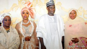 FROM LEFT: Former First Lady, Justice Fati Abubakar; the bride, Halima; groom, Alhaji Auwal Abdullahi' and wife of a former Vice President, Hajia Amina Sambo, at the wedding of the second daughter and last child in Gen.Ibrahim Babangida's family, in Minna on Friday (11/5/17). 02635/12/5/2017/Callistus Ewelike/BJO/NAN