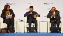 From left: Minister of Finance, Mrs Kemi Adeosun; Acting President Yemi Osinbajo; and CBN Governor, Dr Godwin Emefiele, at the opening of the Africa Finance Corporation's Premier Infrastructure Conference in Abuja on Tuesday (16/5/17). 03575/16/5/2017/Jones Bamidele/NAN