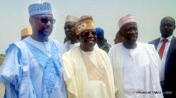FROM LEFT: Gov. Abubakar Bello of Niger; APC chieftain, Asiwaju Bola Tinubu; and Gov. Abdullahi Ganduje of Kano State, at the Minna Airport, for the wedding of Halima Babangida, second daughter and last child of Gen. Ibrahim Babangida's family, to Alhaji Auwal Abdullahi, a businessman who holds the traditional title of Sarkin Sudan Gombe, on Friday (11/5/17). 02611/12/5/2017/ Ismail Abdulaziz/BJO/NAN