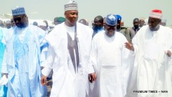 FROM LEFT: Gov. Abubakar Bello of Niger; Senate President bukola Saraki; Gov. Abdulaziz Yari of Zamfara; and Gov. Abdullahi Ganduje of Kano State, at the Minna Airport, for the wedding of Halima Babangida, second daughter and last child of Gen. Ibrahim Babangida's family, to Alhaji Auwal Abdullahi, a businessman who holds the traditional title of Sarkin Sudan Gombe, on Friday (11/5/17). 02612/12/5/2017/Ismail Abdulaziz/BJO/NAN