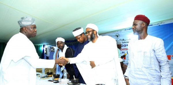 L-R: Lagos State Governor, Mr. Akinwunmi Ambode; Guest Lecturer, Dr. Tajudeen Yusuf; Dr. Lukman AbdulRaheem; Imam Abdullahi Shuaib and Alhaji Shamsideen Li-Ahmed during the Governor's breaking of fast with Muslims (Iftar) at the Lagos House, Ikeja, on Monday, May 29, 2017.
