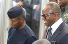 Prof. Yemi Osinbajo accompanied by Dr. Ibe Kachikwu