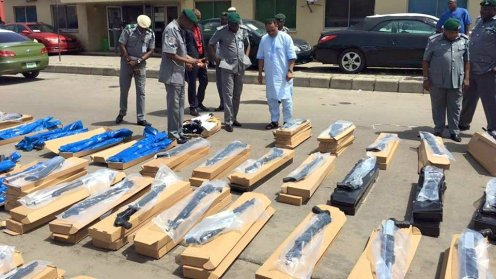 Pump action rifles intercepted by the Nigeria Customs Service at Tin Can Island Port [Photo Credit: Nigeria Customs Service]