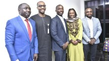 (L-R) Bashir Hassan of BusinessDay, Hafiz Bayero, Head, of Investor Relations in KADIPA, BusinessDay editor Anthony Osae-Brown, Shizzer Bada, KADIPA's Head of Finance and Patrick Atuanya, BusinessDay Chief Economist