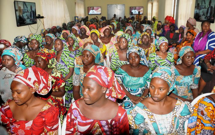 A cross-section of the 82 Chibok schoolgirls recently freed from the Boko Haram terrorists who were handed to the Minister of Women Affairs and Social Development, Sen. Aisha Al-Hassan by the Department of State Security Service (DSS), in Abuja on Tuesday (30/5/17). The Ministry is to immediately commence a comprehensive process of the girls' rehabilitation.  02910/30/5/2017/Anthony Alabi/BJO/NAN