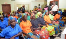 Some of the 82 released Chibok schoolgirls during the presentation of drugs to them by the Minster of Health, Prof. Isaac Adewole, at the Directorate of State Service Hospital, in Abuja on Monday (8/5/17).
