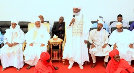 Waziri Adamawa and former Vice President, Atiku Abubakar addressing members of Adamawa Emirate Council led by the Galadima Adamawa, Alh. Mustapha Aminu (left), at a homage to the new Waziri, at his residence in Yola, Adamawa State over the weekend.