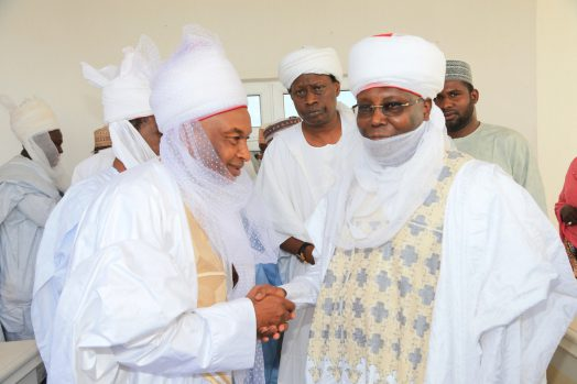 Waziri Adamawa and former Vice President, Atiku Abubakar in a handshake with Galadima Adamawa, Alh. Mustapha Aminu, when members of the Adamawa Emirate Council and others paid paid homage to the new Waziri, at his residence in Yola, Adamawa State over the weekend.