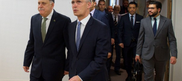 The Prime Minister of Libya, Fayez al-Sarraj and  NATO Secretary General Jens Stoltenberg [Photo: www.nato.int]