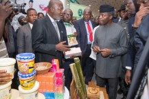 Acting President Yemi Osinbajo with Governor Ben Ayade of Cross River State during the MSME Clinics exhibition at Calabar International Conference Centre (CICC), 1st June 2017. Photo: by Novo Isioro