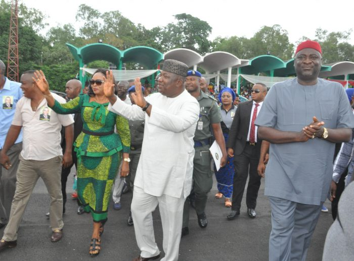 Governor Ifeanyi Ugwuanyi of Enugu State (2nd right) ;Speaker, Enugu State House of Assembly, Edward Ubosi (right);  Deputy Governor of the state, Mrs. Cecilia Ezeilo (2nd left); and the  President General, Enugu State Amalgamated Market Traders Association (ESAMATA), Temple Ude, acknowledging cheers from the crowd during ESAMATA's Mass Traders Rally in support and appreciation Good Governance and Empowerment of Traders in the state, at the Michael Okpara Square, Enugu, yesterday.