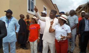 Governor Ugwuanyi during the inspection tour of an estate along the Enugu-Port Harcourt Expressway, Enugu