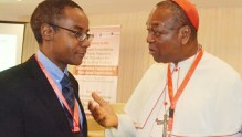 Metropolitan Bishop of Abuja, John Cardinal Onaiyekan (L); and Director-General of the National Agency for the Control of HIV/AIDS (NACA), Dr Sani Aliyu, at the regional consultation on early diagnosis and treatment for HIV-Positive children: strengthening the engagement of field based organizations, in Abuja on Wednesday (14/6/17).  03229/14/6/2017/Johnson Udeani/BJO/NAN