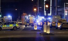 Police vehicles in the area of London Bridge after an incident in central London on Saturday night. Photograph: Matt Dunham/AP