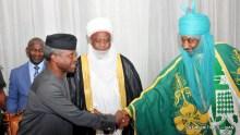 From Left: Acting President Yemi Osinbajo; Sultan of Sokoto, Alhaji Abubakar Saa'd (III) and Emir of Kano, Alhaji Mohmammed Sanusi (II) uring Breaking of Fast with the Acting President Yemi Osinbajo at the Presidential Villa Abuja on Monday (19/6/17)