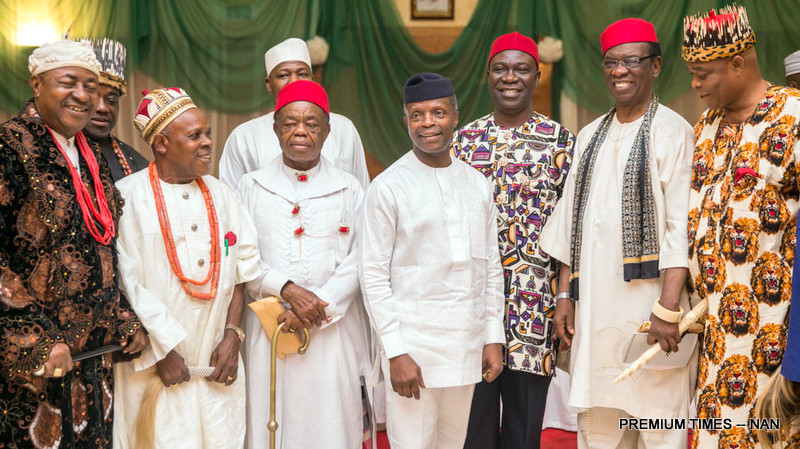 PIC 28 Acting  President Yemi Osinbajo (4TH R) Chairman, South East Council of Traditional Rulers, Eze Eberechi Dick (4TH L) Deputy Senate President, Ike Ekweremadu (3RD R) with other Traditional Rulers from South East during a  Consultative meeting  aimed at promoting peace, as well as protecting lives and properties of all Nigerians at the Presidential Villa Abuja on Sunday (18/6/17) 03364/18/6/2017/Callistus Ewelike/NAN