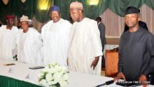 Pic 30. From left: Chief of Staff, Alhaji Abba Kyari; Minister of Defence, retired Brig.-Gen Mansu Dan-Ali; Minister of Interior, retired Lt.-Gen Abdulrahman Dambazzau; Speaker, House of Representatives Yakubu Dogara and Acting President Yemi Osinbajo during a meeting with State Governors at the Presidential Villa in Abuja on Tuesday (20/6/17) 23456/21/6/2017/Callistus Ewelike/NAN