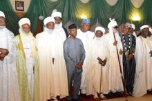 Acting President Yemi Osinbajo (M) with Northern Traditional Rulers after an expanded meeting of the Acting   President with Northern Traditional Rulers at the Presidential Villa in Abuja on Tuesday (20/6/17) 03423/20/6/2017/Callistus Ewelike/NAN