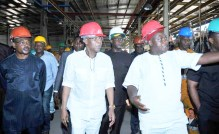 Chairman and Chief Executive Officer, Innoson Vehicle Manufacturing Company Limited, Chief Innocent Chukwuma (R) conducting the Minister of Information and Culture, Alhaji Lai Mohammed (M) during the Minister's facility tour of the company in Nnewi, Anambra, on Monday (5/6/17). 03034/5/6/2017/HB/BJO/NAN